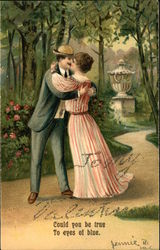 Couple Kissing in Park with Poem