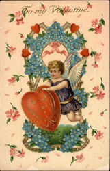 To My Valentine with Cherub, Hearts and Flowers