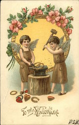 To My Valentine with Cherubs Forging Golden Rings