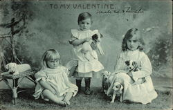 To My Valentine - Photograph of Little Girls with Puppies