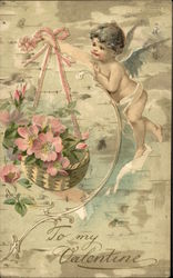 To My Valentine with Cherub and Pink Flowers