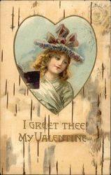 I Greet Thee! My Valentine - with Lovely Girl inside Heart