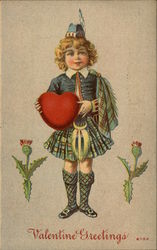Valaentine Greetings with Scottish Boy and Heart