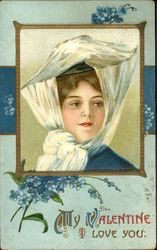 Woman in White Net Hat With Forget-Me-Knots