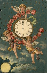 A Happy New Year with Cherubs, Clock and Flowers