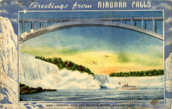 General View and Raibow Bridge Niagara Falls New York