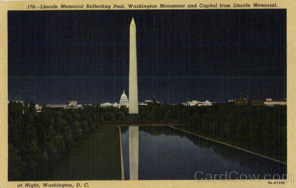 Lincoln Memorial Reflecting Pool, Washington Monument and Capitol from Lincoln Memorial at Night District of Columbia