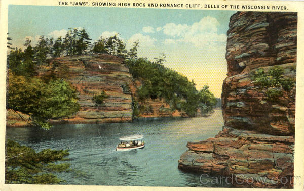 The Jaws, showing high rock and romance cliff, Dells of the Wisconsin River Wisconsin Dells