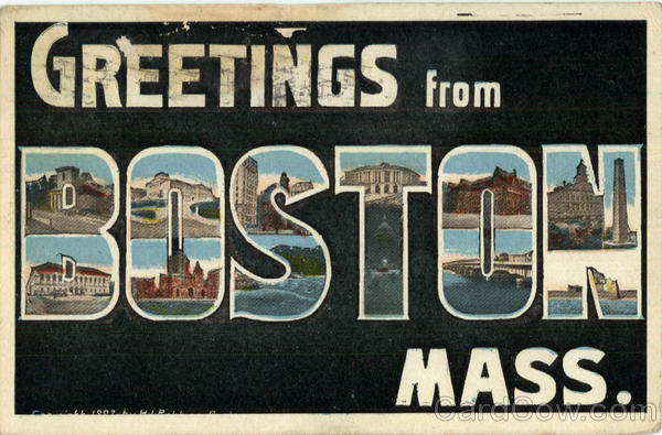 Greeting from Boston Massachusetts Large Letter