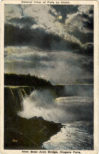 General View of Falls by Night Niagara Falls New York
