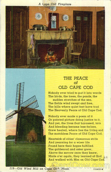 A Cape Cod Fireplace, Old Wind Mill on Cape Cod Mass Massachusetts