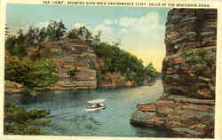 The Jaws, showing high rock and romance cliff, Dells of the Wisconsin River
