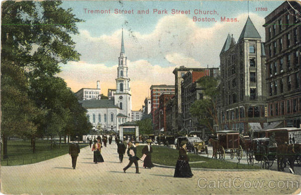 Tremont Street And Park Street Church Boston Massachusetts