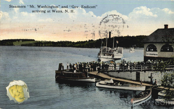 Steamers Mt. Washington And Gov. Endicott Arriving At Weirs The Weirs New Hampshire