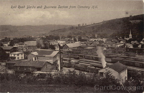 Rail Road Yards And Business Section From Cemetery Hill Sidney New York
