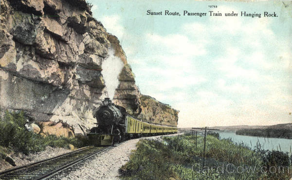 Sunset Route Passenger Train Under Hanging Rock Railroad (Scenic)