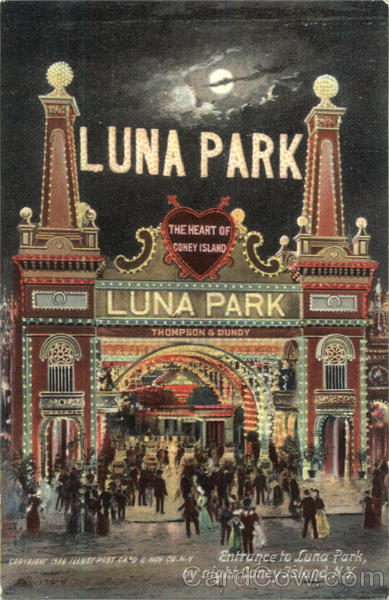 Entrance To Luna Park By Night Coney Island New York