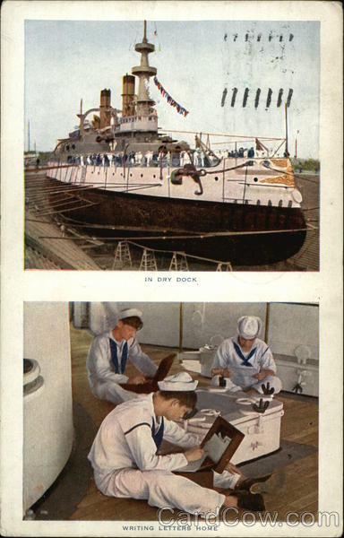 In Dry Dock, Writing Letters Home Ships