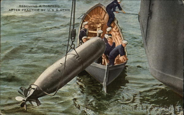 Rescuing a Torpedo After Practice by USS Utah Navy