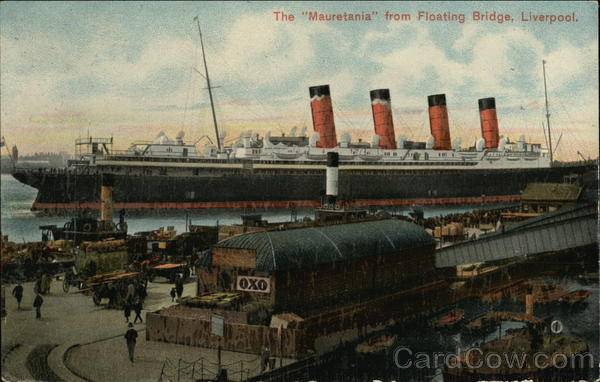 The Mauretania from Floating Bridge, Liverpool Boats, Ships
