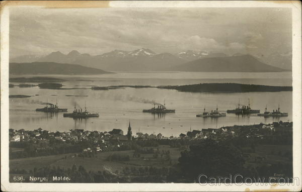 View of Fleet at Molde, Norge (Norway) Boats, Ships