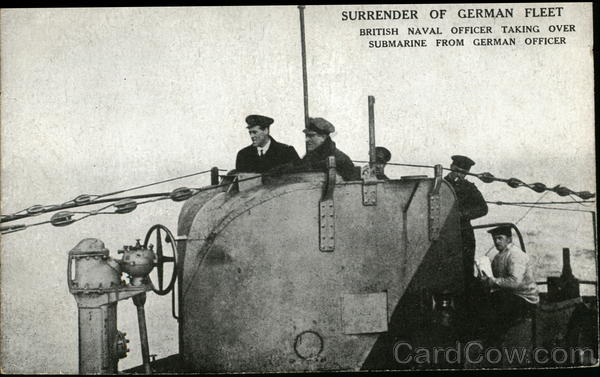 Surrender of German Fleet, British Naval Officer Taking Over Submarine From German Officer