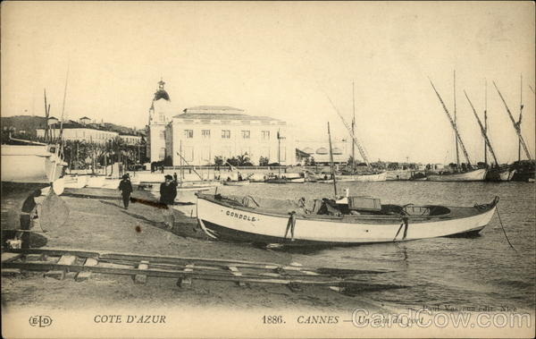 Cote d'Azur 1886. Cannes - Un coin du port France
