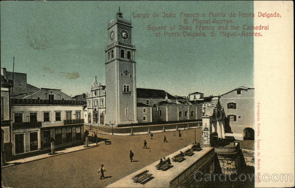 Square of Joao Franco and The Cathedral of Ponta Delgada San Miguel Azores