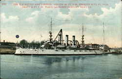 The U.S. Battle Ship Virginia, Length 441 Ft. 3 in., Breadth 76 ft., 2 1/4 inch