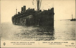 Arrival of the Americans in France, a Ship Full of Soldiers