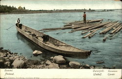 Boat and Floating Logs Near the Shore