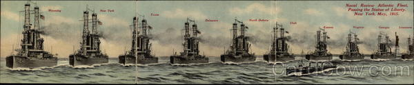 1915 Naval Review Atlantic Fleet Passing the Statue of Liberty - 3-fold