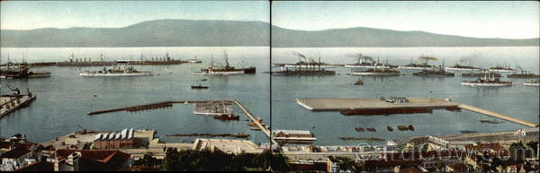 2 Card Set - US Fleet at Tanger Tangier Morocco Africa