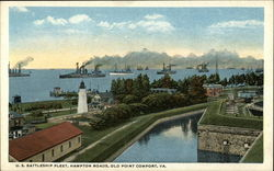 U.S. Battleship Fleet, Hampton Roads Postcard