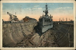 U.S. Battleship in Dry Dock