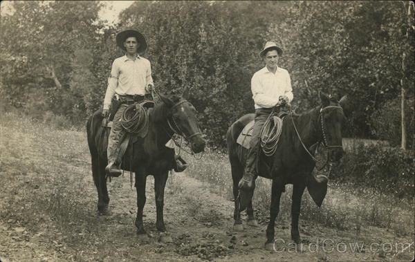 Two Men on Horseback - Cowboys Cowboy Western