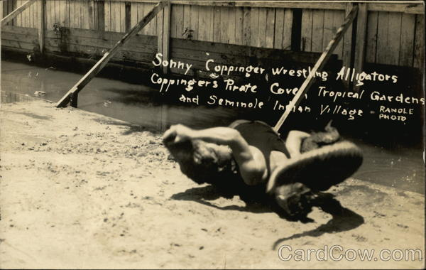 Coppinger's Pirate Cove - Sonny Coppinger Wrestling Alligators Miami Florida
