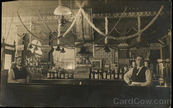 Bartenders, Interior of Bar With Two Men, Bottles, Signs