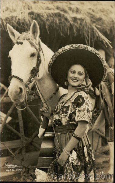 Mexican Woman with White Horse Charra Mexico