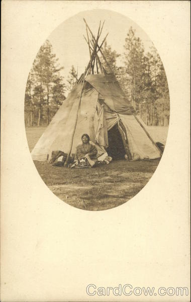 Indian Sitting in Front of Tepee Native Americana