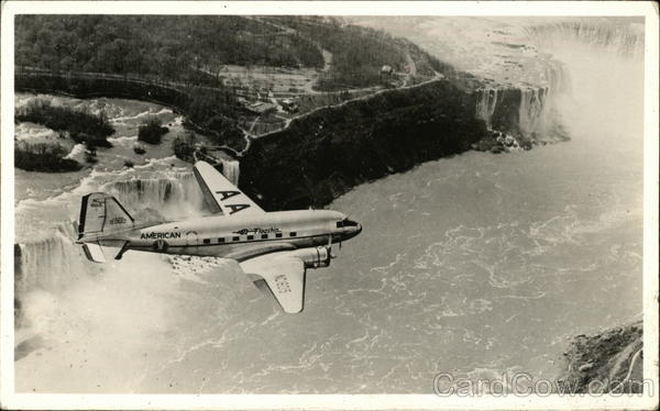 American Airlines Plane Flying Over River and Waterfalls