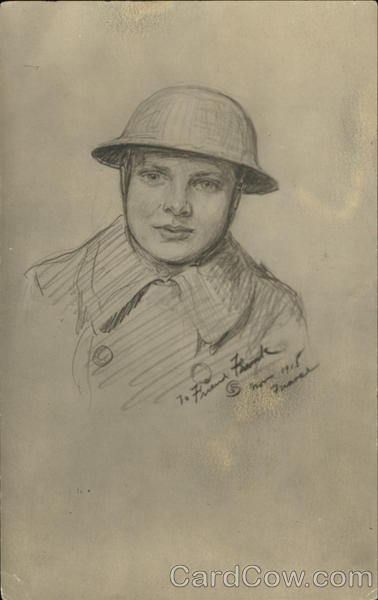 Pencil Drawing of French Soldier World War I