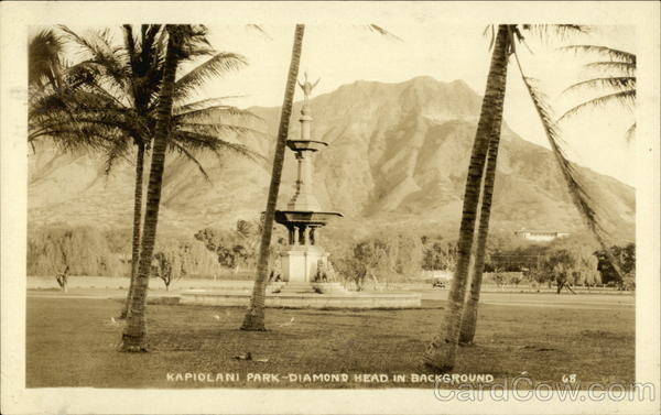 Kapiolani Park - Diamond Head in Background Honolulu Hawaii