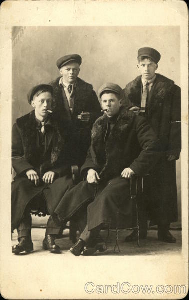 Group of Four Young Men, Smoking Cigars