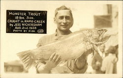 Monster Trout, 18 lbs. 3 oz. Caught in Rapid Creek by Jess Wickersham Aug. 2nd, 1928