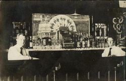 Bartenders, Interior of Bar with Two Men, Cash Register, Bottles