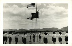 Girl Scouts saluting flag - Camp LaJita