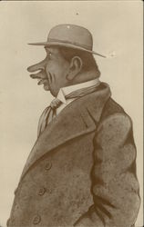 Caricature of Black Man with Coat, Tie and Hat