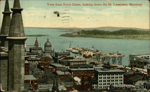 View from Notre Dame, Looking Down the St. Lawrence Montreal Canada