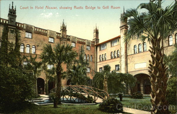 Court in Hotel Alcazar, Showing Rustic Bridge to Grill Room Fort Lauderdale Florida